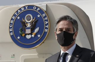 U.S. Secretary of State Antony Blinken arrives in South Korea on March 17, 2021.