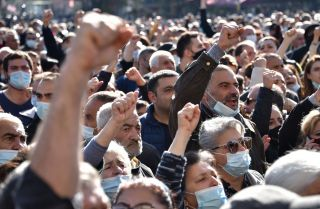 A protest against the country's agreement to end fighting with Azerbaijan over the disputed Nagorno-Karabakh region outside government headquarters on Nov. 11, 2020, in the Armenian capital of Yerevan.