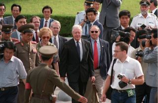 Former U.S. President Jimmy Carter visiting North Korea