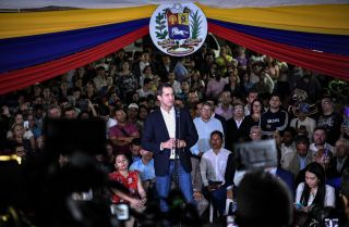 Opposition leader Juan Guaido speaks at an event in Caracas, Venezuela, on Feb. 11, 2020.