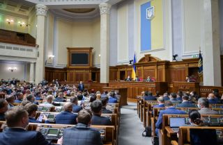 Lawmakers in Ukraine's parliament vote on a banking reform bill aimed at unlocking financial support from the International Monetary Fund on May 13, 2020, in Kyiv, Ukraine.