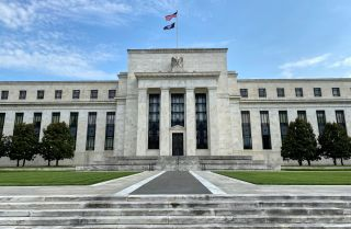 A view looking up at the U.S. Federal Reserve building in Washington D.C. on July 1, 2020.