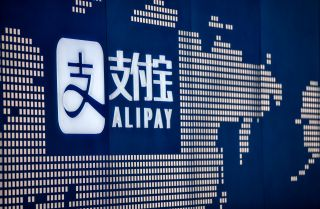 A close-up view shows the Alipay logo in Ant Group's office in Shanghai, China, on Aug. 28, 2020.