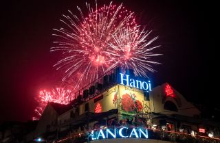 Vietnam rings in the new year with a fireworks show in the city center of Hanoi on Jan. 1, 2021.