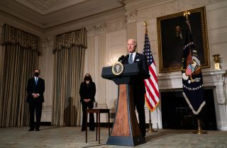 U.S. President Joe Biden speaks about climate change issues at the White House on Jan. 27, 2021.