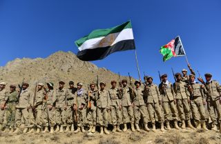 Anti-Taliban resistance forces take part in a military training exercise in Afghanistan's Panjshir province on Sept. 2, 2021.
