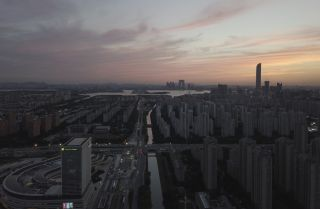 A photo taken on May 31, 2021, shows the skyline of Suzhou, China, at sunset.