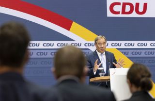 Armin Laschet, the Christian Democratic Union (CDU)'s chancellor candidate, speaks at the press conference in Berlin on Sept. 27, 2021, the day after Germany's federal election.