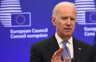 Then-U.S. Vice President Joe Biden speaks during a 2015 meeting with EU leaders in Brussels, Belgium.