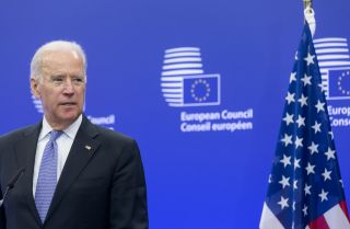 Then-U.S. Vice President Joe Biden participates in a bilateral meeting at the European Council headquarters in Brussels, Belgium, on Feb. 6, 2015.