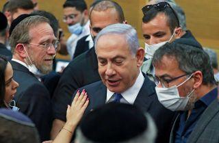 Israeli Prime Minister Benjamin Netanyahu on June 2, 2021, attends a special session of the Knesset in Jerusalem.