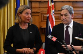 Federica Mogherini (L), head of EU foreign affairs, meets with New Zealand's foreign minister, Winston Peters, during a trip to Wellington on Aug. 7, 2018.