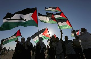 Palestinians gather during a demonstration at the Israel-Gaza border on Oct. 4, 2019.