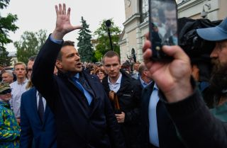 Warsaw Mayor Rafal Trzaskowski, one of the main opposition candidates running in Poland's 2020 presidential election, greets locals and supporters in Wieliczka, Poland, during a campaign event on June 5, 2020.