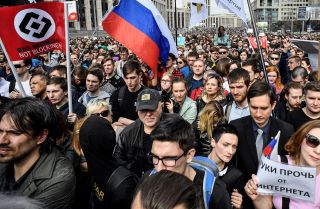 Russian citizens gather on the streets of Moscow to demand greater internet freedom in the country.