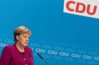 German Chancellor Angela Merkel speaks during an Oct. 29 news conference at the Christian Democratic Union party headquarters in Berlin.