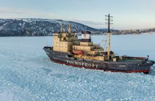 The Magadan icebreaker in the Bay Nagayeva, Sea of Okhotsk, in March 2019.