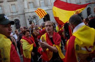 Nationalist supporters rally outside the Catalan government building in Barcelona during a protest in October 2017.