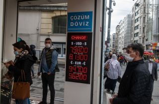 A currency exchange shop on Nov. 9, 2020, in Istanbul.