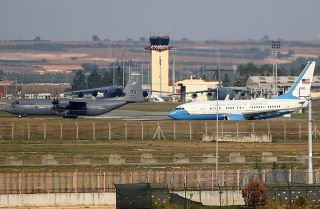 Aircraft prepare to take off from Turkey's Incirlik Air Base, home of Turkey's 10th Tanker Base Command, on Oct. 17, 2019.