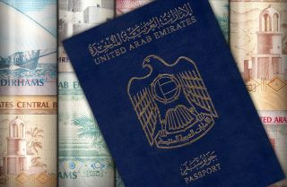 A display shows the UAE passport.