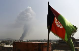 Smoke rises from the site of a Taliban attack that killed at least 16 people in Kabul, Afghanistan, on Sept. 3, 2019.