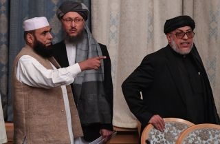 A picture of Taliban representatives attending an international talks on Afghanistan in Moscow on Nov. 9, 2018.
