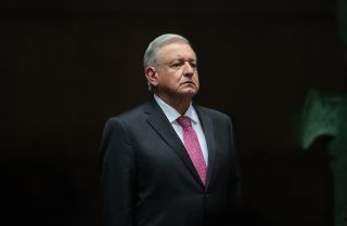 Mexican President Andres Manuel Lopez Obrador on July 1, 2021, at the National Palace in Mexico City during a commemoration of the third year of his victory in Mexico's 2018 presidential election.