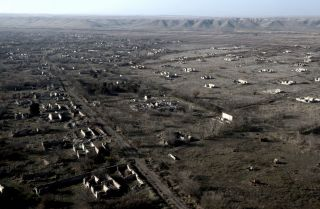 An aerial view shows the ruins of a village on Jan. 5, 2021, in an area of Nagorno-Karabakh that was recaptured by Azerbaijan in October 2020.