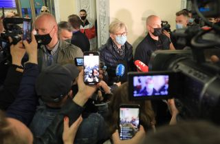 Lithuanian Prime Minister Ingrida Simonyte (center) speaks to journalists in Vilnius on May 23, 2021, about the Ryanair passenger plane that was hijacked and diverted to Minsk, Belarus.