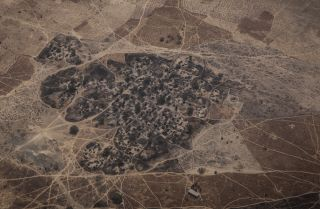 An aerial photograph from February 2017 shows a burnt village, believed to have been attacked by Boko Haram, in northeast Nigeria.