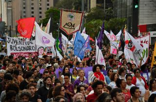 A picture showing Brazilians rallying against far-right populist presidential candidate Jair Bolsonaro in Sao Paulo on Oct. 20.