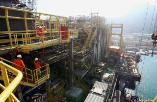Brazil's P-51 semisubmersible offshore oil platform was built to produce up to 180,000 barrels of oil per day.