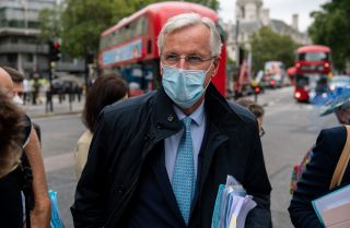 Michel Barnier, the European Union's chief negotiator in ongoing trade talks with the United Kingdom, arrives at a meeting with his team in London on Sept. 9, 2020.