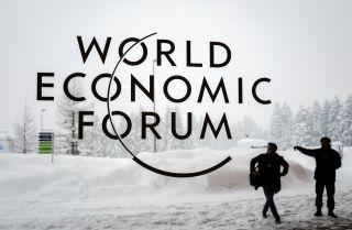 Security guards stand outside at the ski resort in Davos, Switzerland, where government and corporate leaders assemble each year for the World Economic Forum.