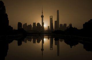 The skyline of Shanghai, November 2016.