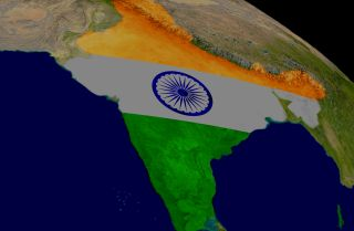 A map of India is seen superimposed over the country's territory.