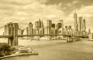 The Brooklyn Bridge and Manhattan.