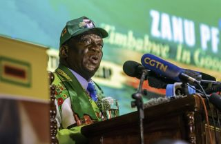 Zimbabwe's President Emmerson Mnangagwa attends the official launch of his ruling Zimbabwe African National Union Patriotic Front (ZANU-PF) party manifesto for the upcoming general elections. The first general elections since the ouster of longtime ruler Robert Mugabe are quickly approaching.