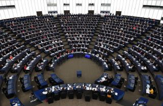 Members of the European Parliament vote during a plenary session on Nov. 14, 2018, in Strasbourg, France.