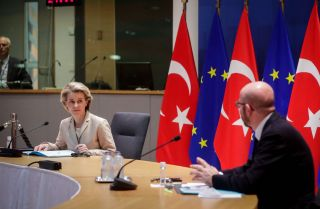 European Commission President Ursula von der Leyen and the EU Council President Charles Michel hold a conference call with Turkish President Recep Tayyip Erdogan on March 19, 2021.