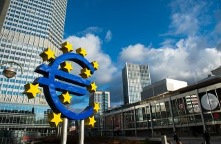 A statue depicting the euro is pictured outside the headquarters of the European Central Bank, which serves as the central bank of the 19 EU countries within the eurozone, in Frankfurt, Germany.