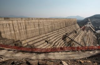 A general view of the Grand Ethiopian Renaissance Dam near Guba, Ethiopia, on Dec. 26, 2019.