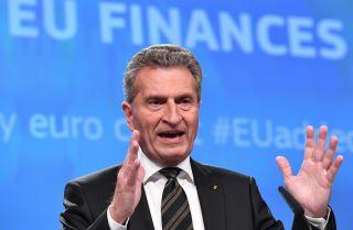 European Union Budget Commissioner Gunther Oettinger speaks in Brussels on June 28, 2017.