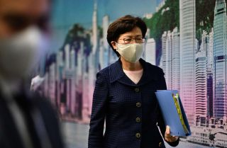 Hong Kong Chief Executive Carrie Lam at government headquarters in Hong Kong on July 31, 2020.