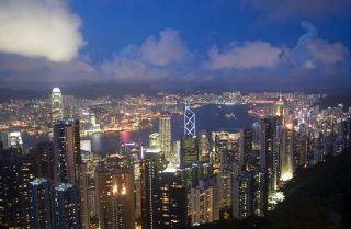An evening view of the western half of Hong Kong.