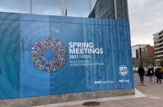 International Monetary Fund headquarters on April 5-11, 2021, in Washington.