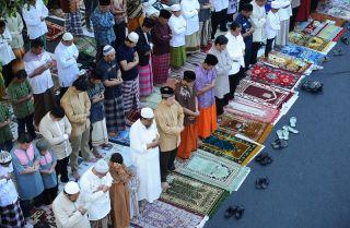 Muslims pray in Surabaya, Indonesia.