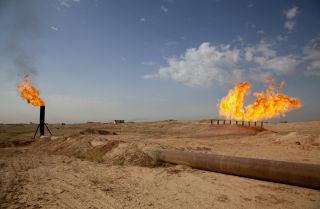A view of a gas flare in Kirkuk, the oil-rich city in northern Iraq.