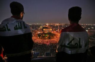 This photo shows Iraqi protesters gathered in Baghdad's Tahrir Square on Oct. 31, 2019.